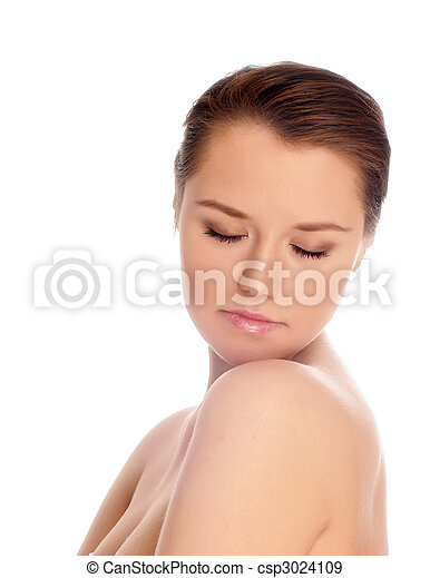 Portrait of young adult woman with health skin of face - csp3024109