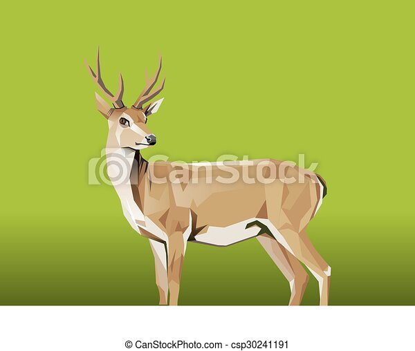 Deer with green Background - csp30241191