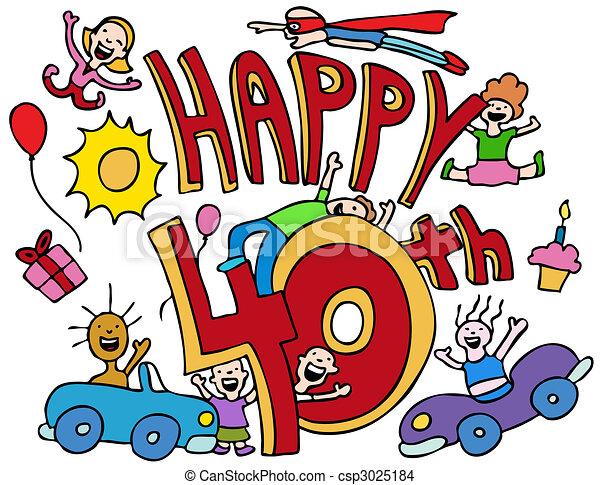 Vector - Happy 40th - stock illustration, royalty free illustrations ...