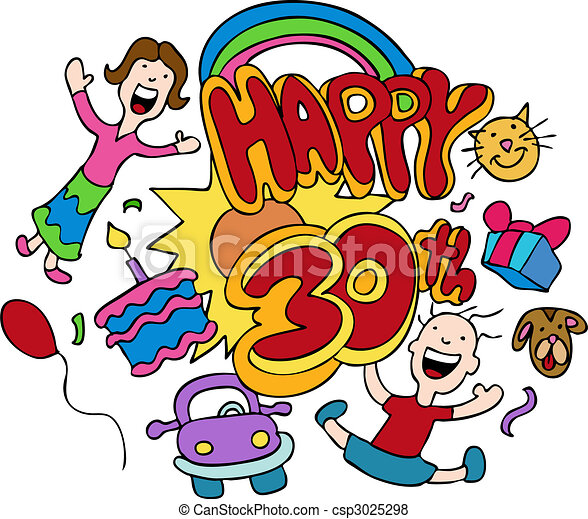 Vector - Happy 30th - stock illustration, royalty free illustrations ...