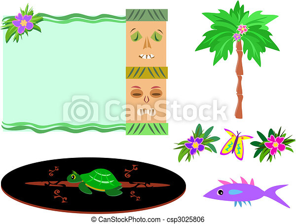 Mix of Tropical Tikis, Palm, Flowers, Surfboard, and Fish - csp3025806