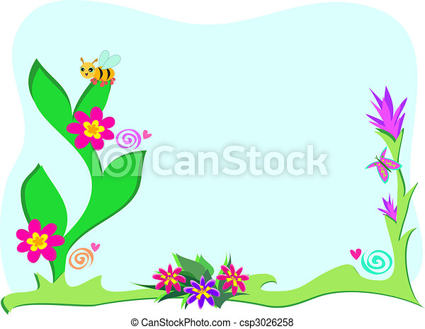 Framed Garden with Plants and Bee - csp3026258