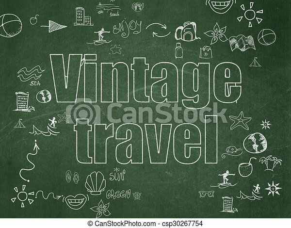 Travel concept: Vintage Travel on School Board background