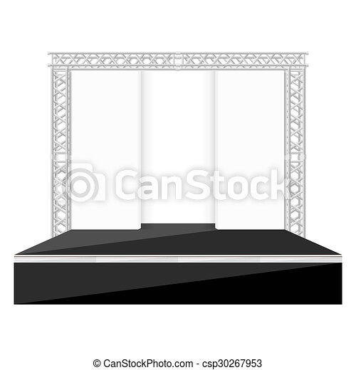 Clipart Vector of black color flat style stage with scenes back ...