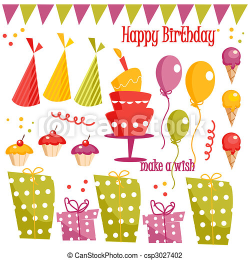 Birthday party graphic elements - csp3027402