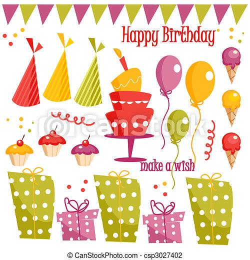Birthday party graphic elements - csp3027402