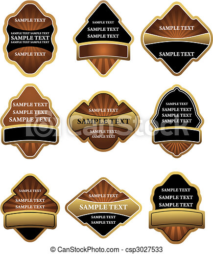 Set of brown and gold labels - csp3027533