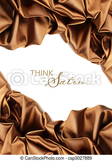 Rich golden brown satin fabric on white - csp3027889