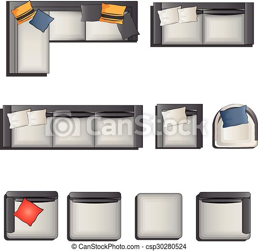 Vector Illustration of Sofa top view set 1 - Furniture top view ...