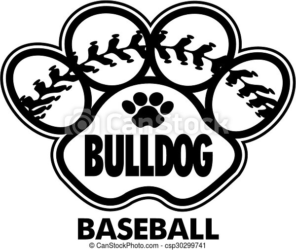 EPS Vector Of Bulldog Baseball Design With Stitches Inside Paw Print