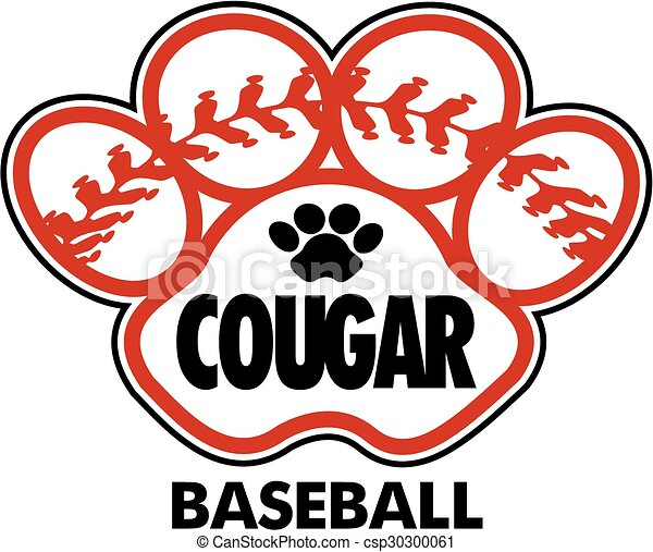 clip art vector of cougar baseball design with stitches softball clip art with no background fill softball clipart