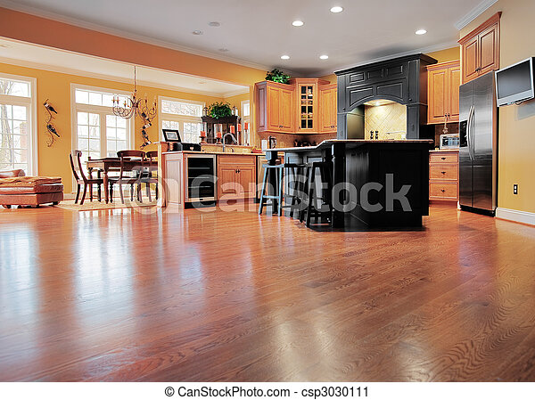 Home Interior With Wood Floor - csp3030111