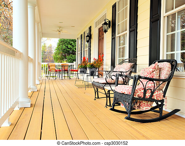 Front Porch Clipart stock photo of front porch of traditional home - low angle view of