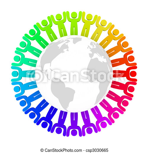 Diverse People Standing Around Earth - csp3030665