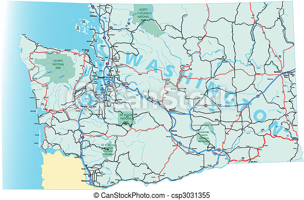 Washington Interstate Highway Map - csp3031355