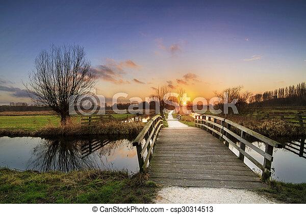 Cronesteyn bridge sunset - csp30314513