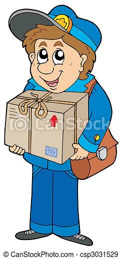 Mailman delivering box - csp3031529