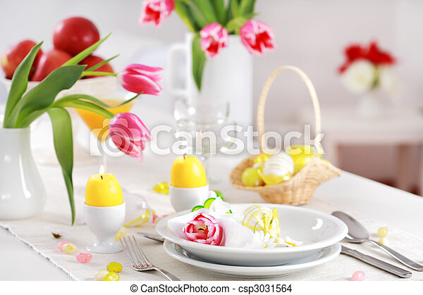 Easter table setting - csp3031564