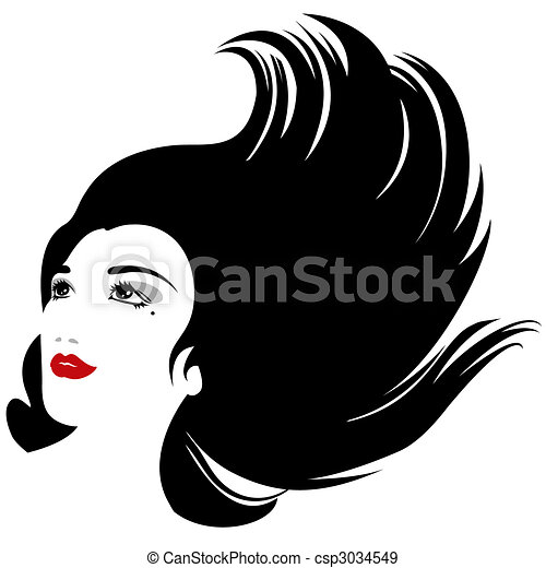 isolated vector woman with flowing hair silhouette - csp3034549