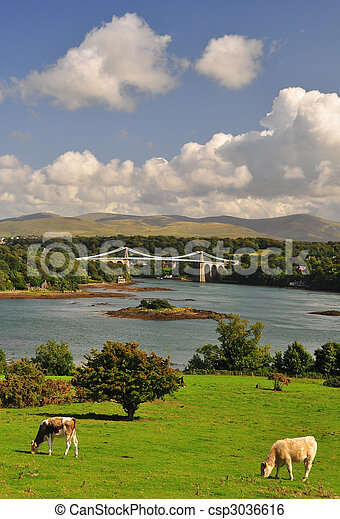 Menai Bridge Anglesey in North Wales  - csp3036616