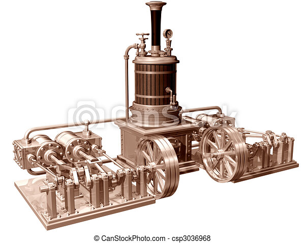 Four cylinder steam engine and boiler - csp3036968