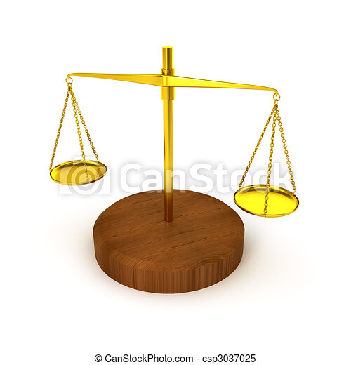 Pharmaceutical gold scale on white background - csp3037025