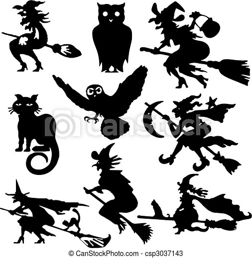 Silhouettes of witch - csp3037143