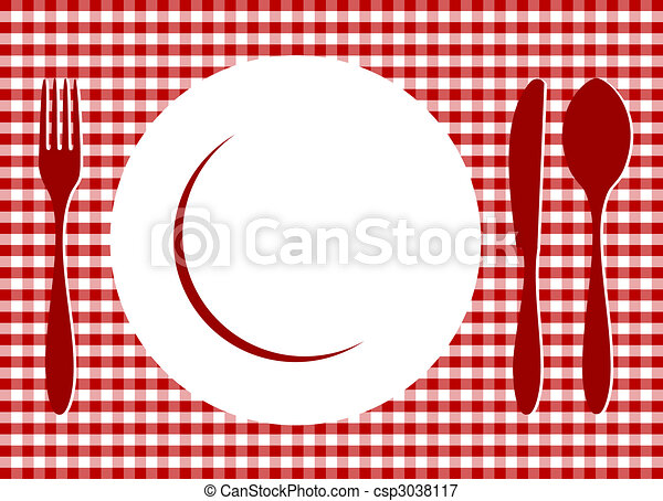 Place Setting on red tablecloth - csp3038117