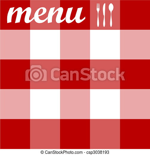 Menu design. Cutlery on red tablecloth texture - csp3038193