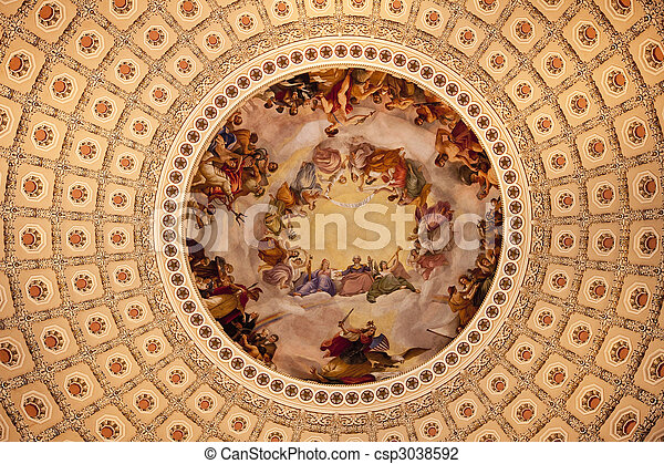 US Capitol Dome Rotunda Apothesis George Washington DC - csp3038592