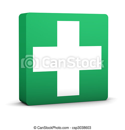 Green First Aid Sign - csp3038603