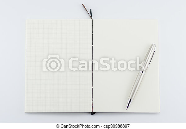 Opened notepad with pen on white background.