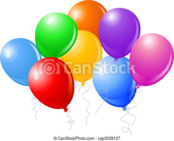 Eight Beautiful Party Balloons - csp3039127