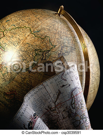 Antique globe and map of the world - csp3039591