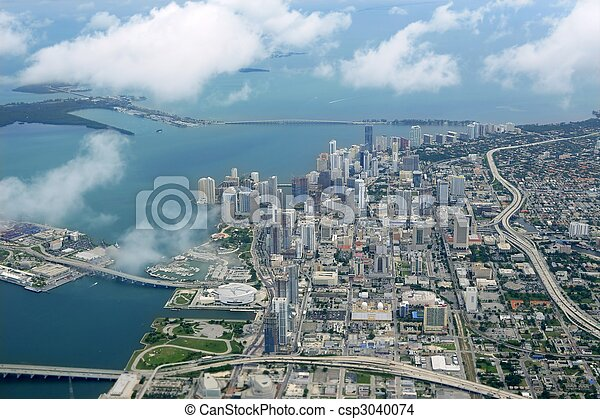 Miami city Downtown aerial view  blue sea - csp3040074