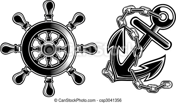 ship steering wheel and anchor - csp3041356