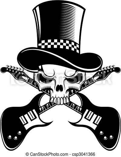 skull with electric guitars - csp3041366