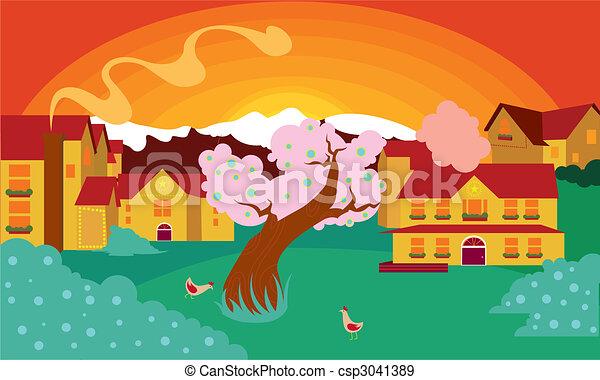 sunset scenery - csp3041389