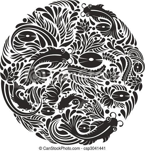 Black And White Fish Pattern