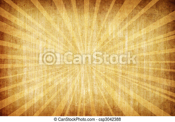 abstract yellow vintage grunge background with sun rays - csp3042388