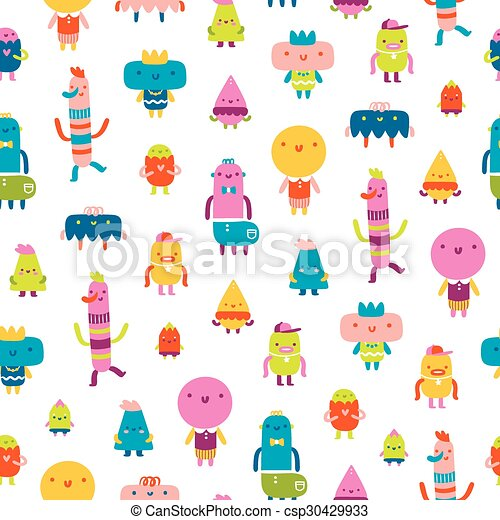 Abstract characters vector seamless pattern on white background - csp30429933