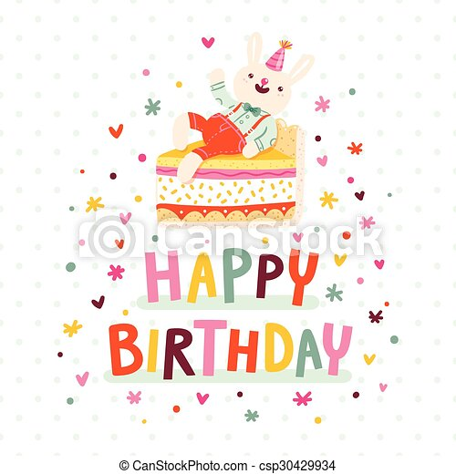 Happy birthday card with bunny and cake - csp30429934