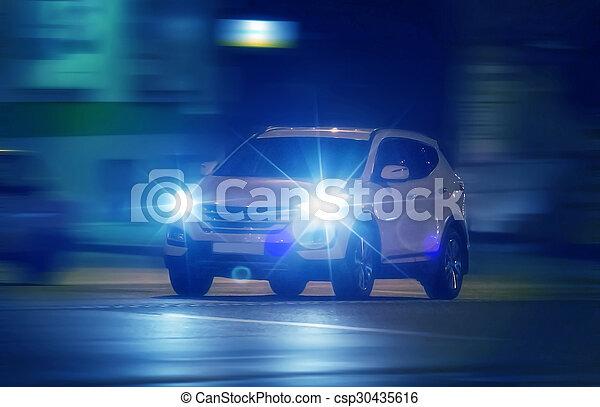 cars go on night city