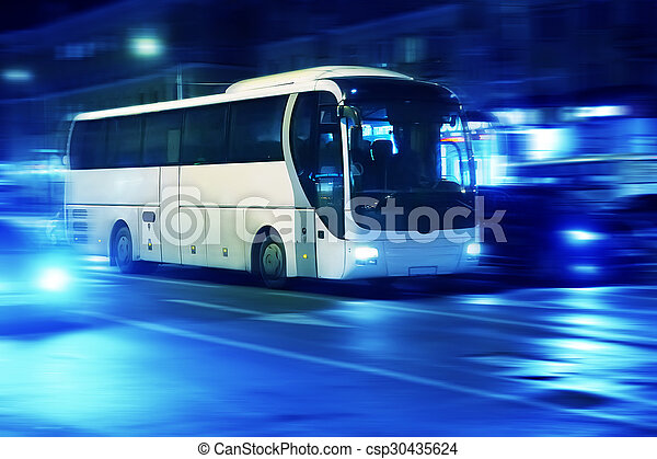 bus moves in the night city