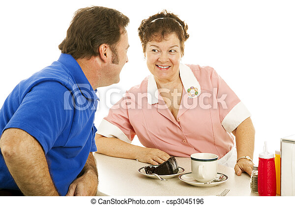 Waitress Flirting with Customer - csp3045196
