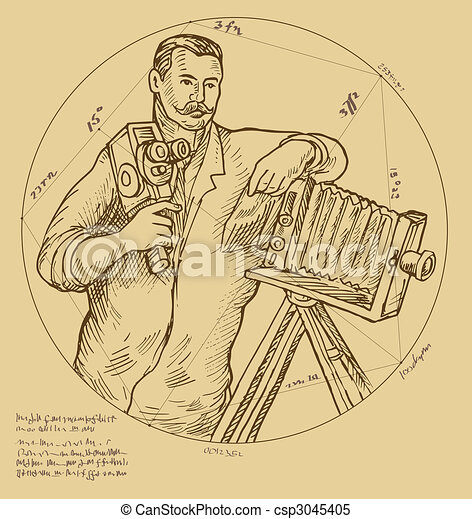 Vintage Photographer holding video camera made to look like it was done by a Renaissance  artist. The hand written text,letters, numbers and symbols do not mean anything, j - csp3045405