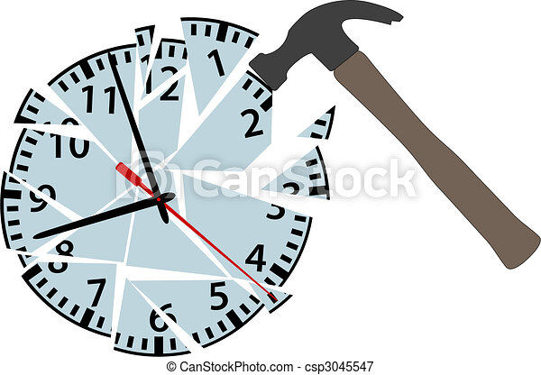 Hammer hits to smash time clock pieces - csp3045547