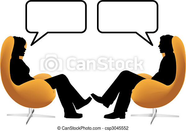 Man woman couple sit talk in egg chairs - csp3045552