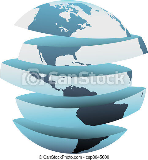 Earth slice America cut up globe pieces - csp3045600