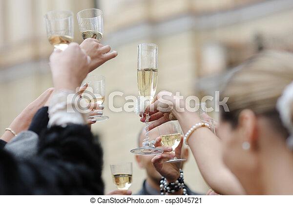 matrimonio,  champagne, celebrazione - csp3045721